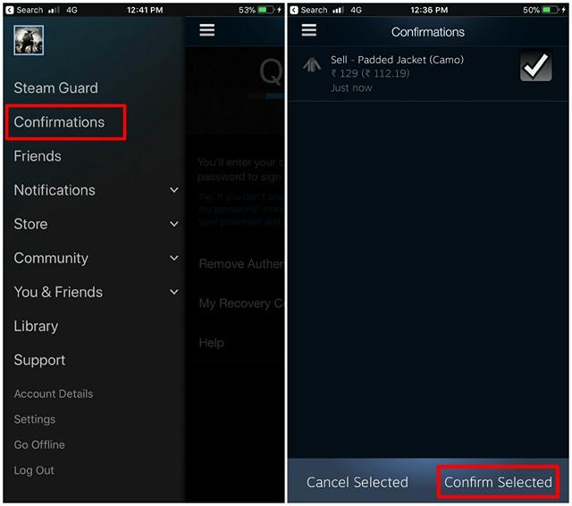 Confirmación de la aplicación móvil Steam