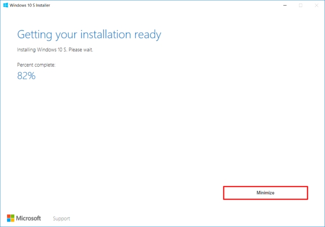 Windows 10 S Installer Installing