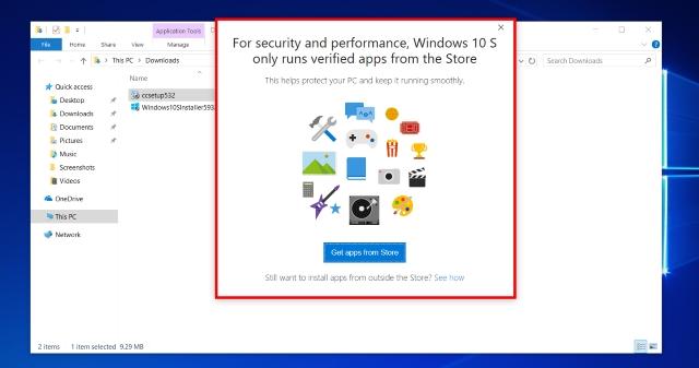 Aplicaciones de Windows 10 S que no pertenecen a la tienda