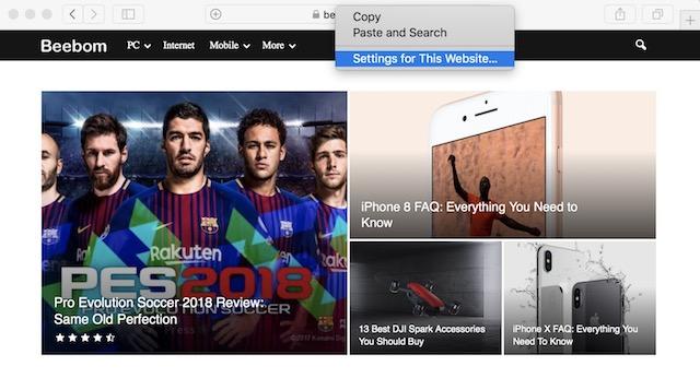 1. Habilite el bloqueo de reproducción automática de video en Safari (sitio web individual)