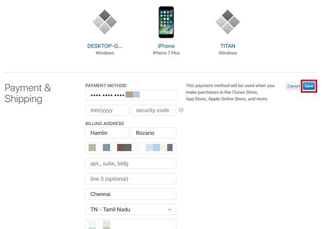 Guardar información de pago Sitio web de ID de Apple