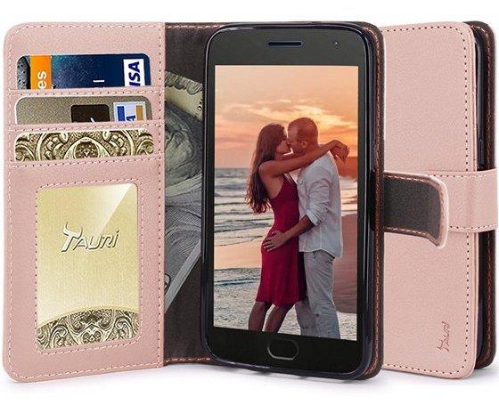 TAURI Wallet Flip Case For Moto X4