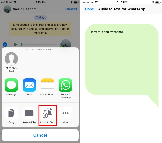 Voice Notes Converted to Text iOS