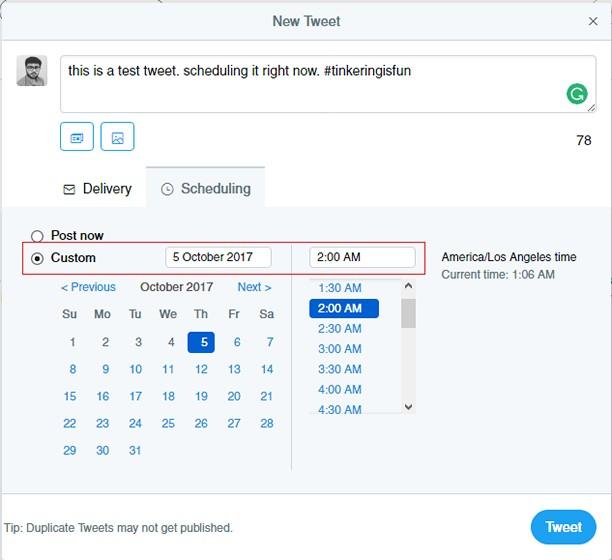 schedule tweet