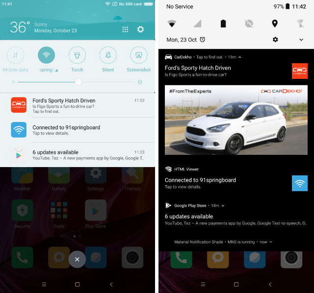Get Stock Android-like Notification Center in MIUI compare