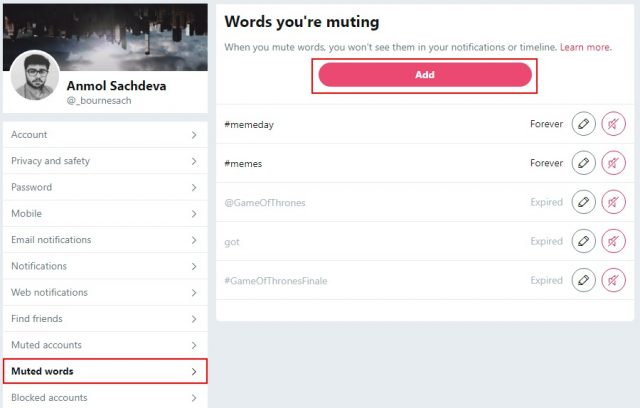 Muted Words