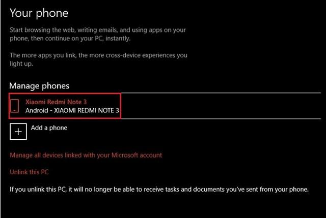 Phone Windows 10