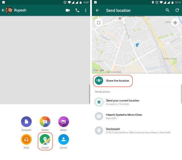 WhatsApp live location step 2