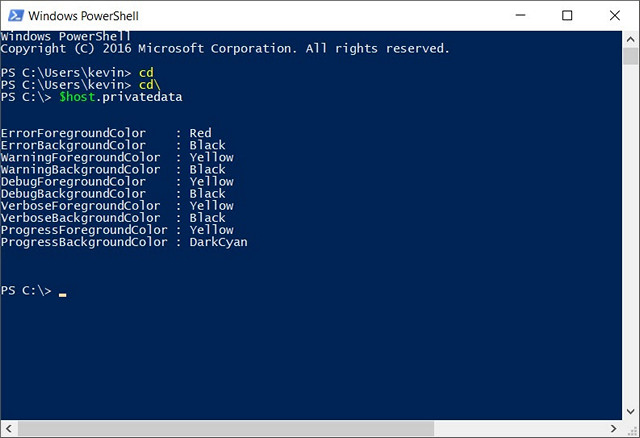 how to change powershell color scheme on windows 10