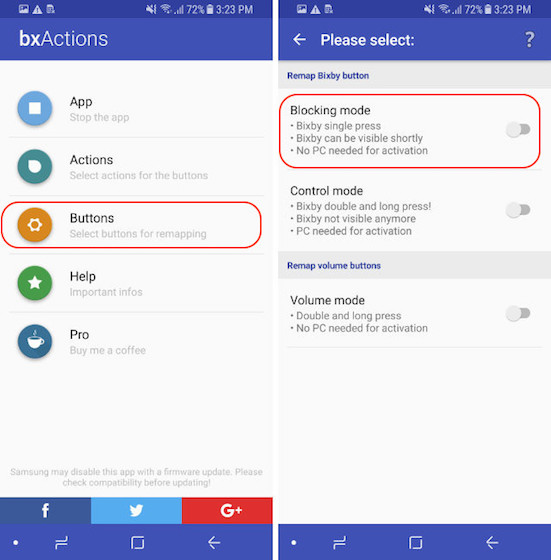 Remap The Bixby Button - Control Mode - Step 1