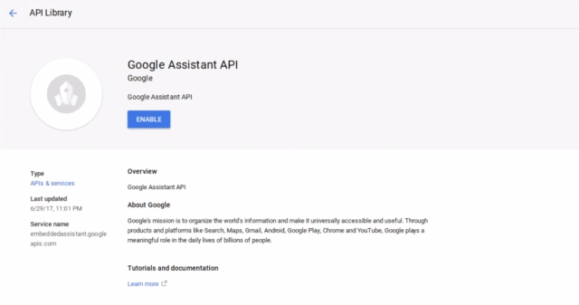 Google Assistant API Enabler