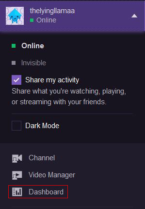 Twitch dashboard dropdown
