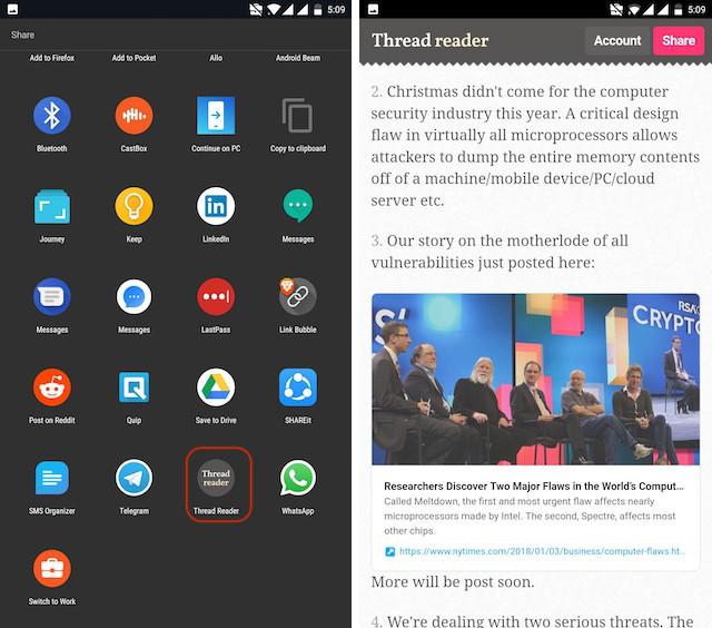 Uso de la aplicación de Android Thread Reader - paso 3