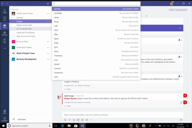 microsoft teams slash commands