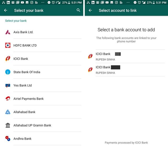 Cuenta bancaria de pago de WhatsApp