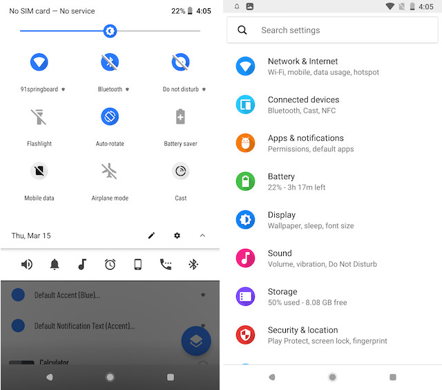 2. Get Android P like Notification Panel and Settings Menu 4