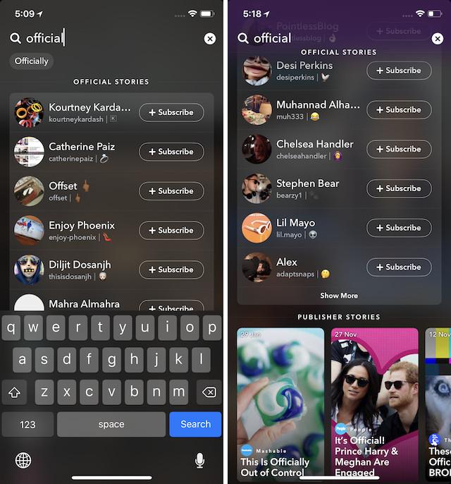 6. Найти знаменитостей на Snapchat легко