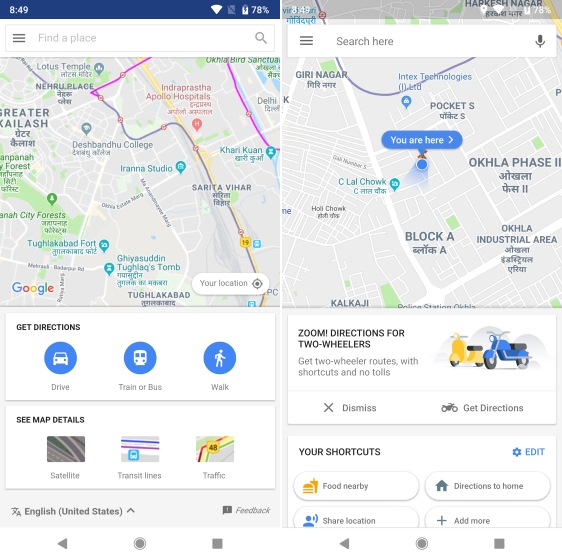 Google Maps Go vs Google Maps