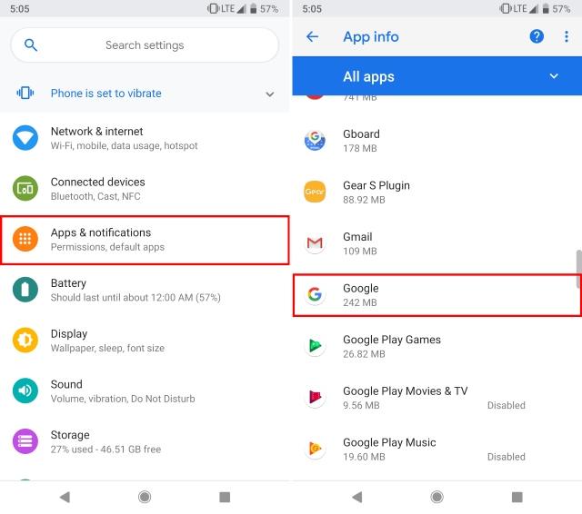Apps und Benachrichtigungen Google