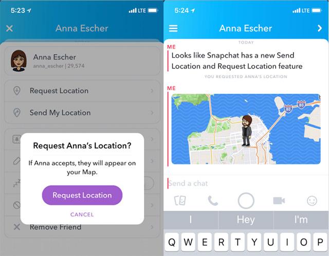 Snapchat Location sharing