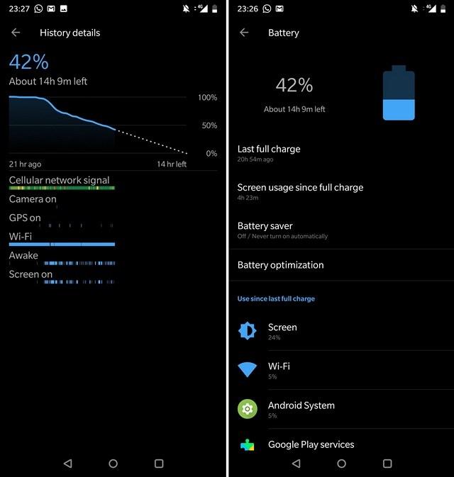 battery status OnePlus 6