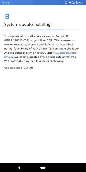 android p beta 2 update