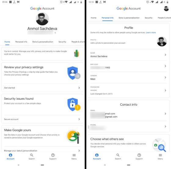 google account settings