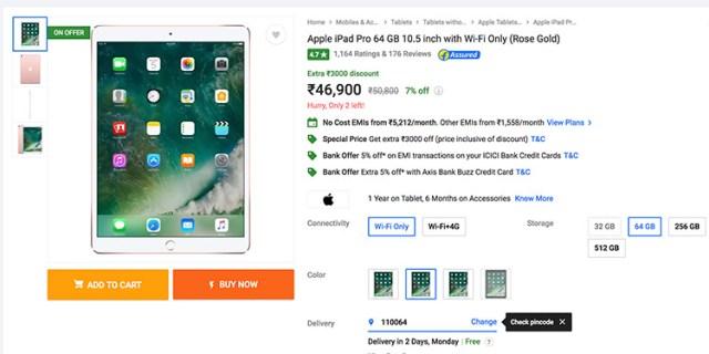 "Flipkart Superr Sale: Get Rs 3,000 off on iPad Pro 10.5"" (Wi-Fi)"