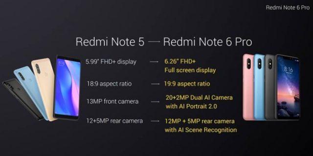 redmi note 6 pro comparison