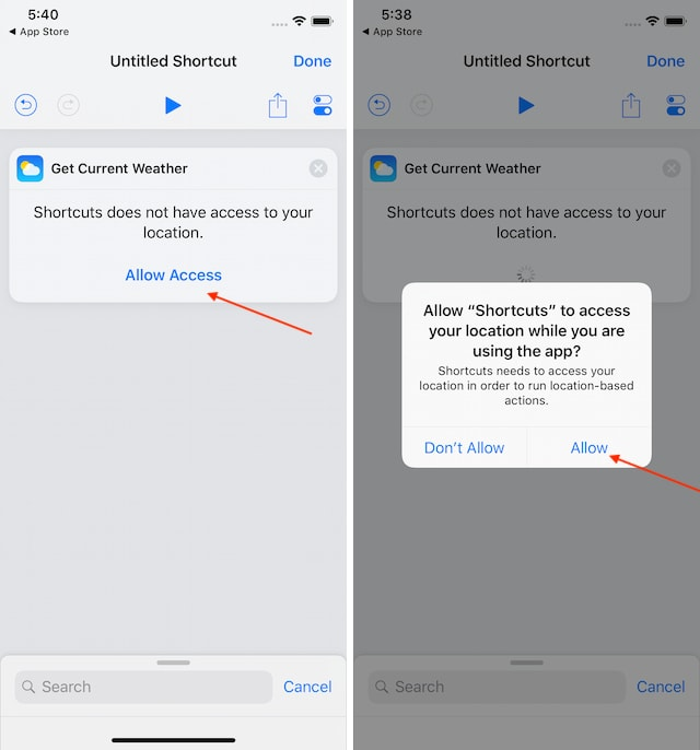6. Using the Weather Action in Shortcuts 2.1