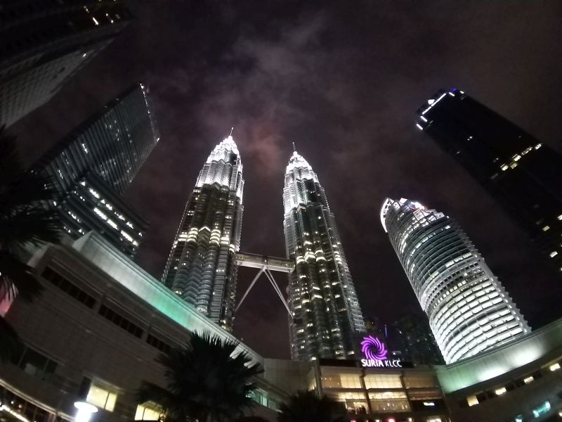 Galaxy A9 ultra wide lens outdoors with neon lighting