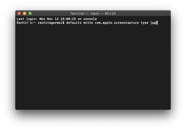 cambiar el formato de captura de pantalla en la terminal
