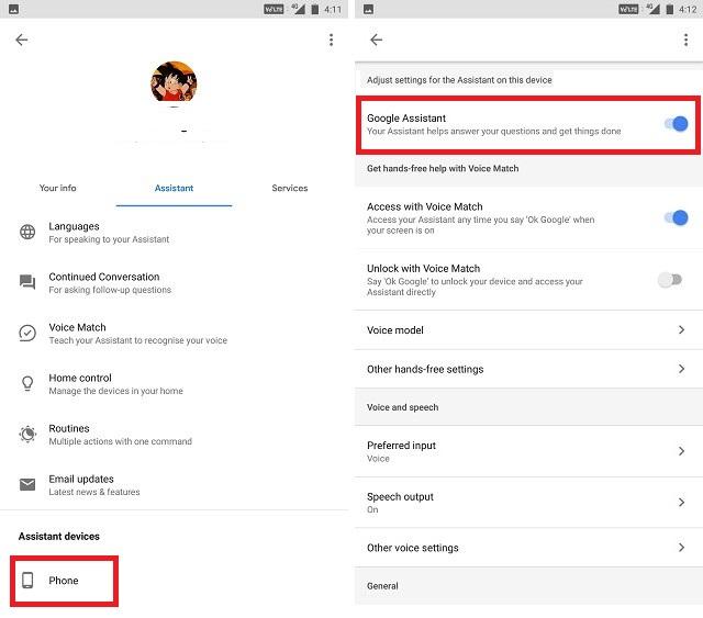 Cómo desactivar el Asistente de Google desactivando la captura de pantalla de alternar