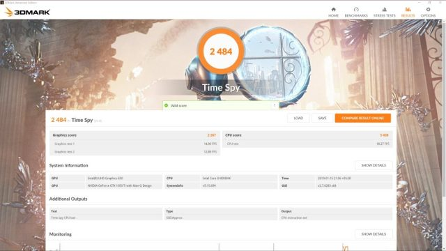 3DMark TimeSpy оценка для Dell XPS 15 9570