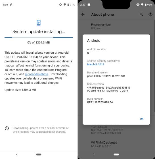 Android Q beta 1 instalado