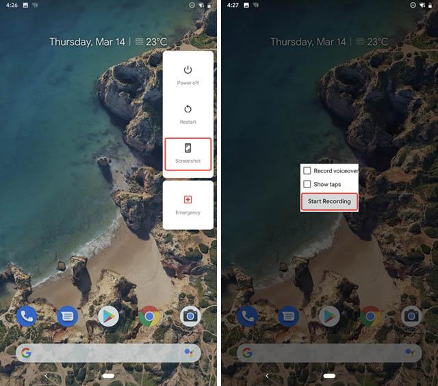 mantenga pulsado el menú de grabación de pantalla de captura de pantalla