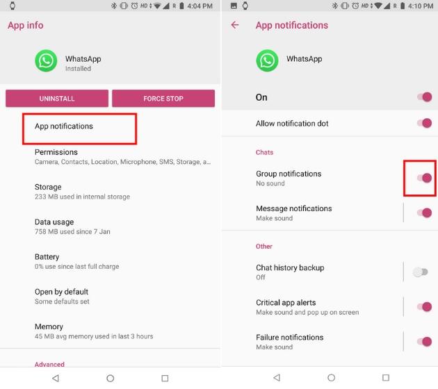 Настройка уведомлений WhatsApp с каналами уведомлений на Android 2