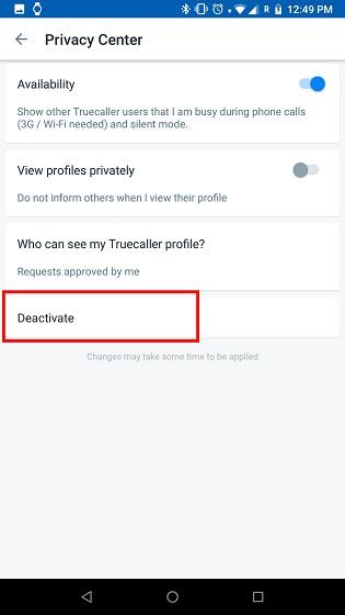Удалить учетную запись Truecaller 2