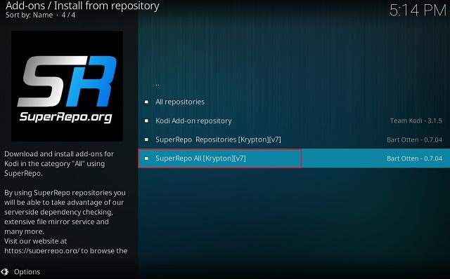 Очистить кэш на Kodi с помощью дополнения Merlin Wizard 7