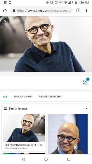 Обратный поиск изображений на телефоне с Bing Image 2