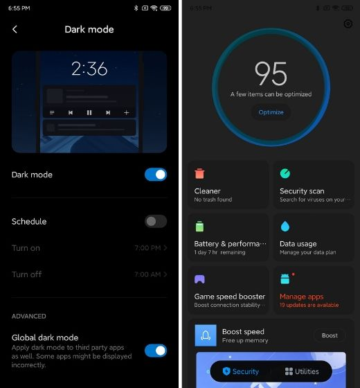 5. Force Dark Mode