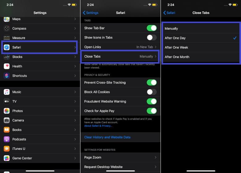 Cerrar automáticamente todas las pestañas abiertas de Safari en iOS 13