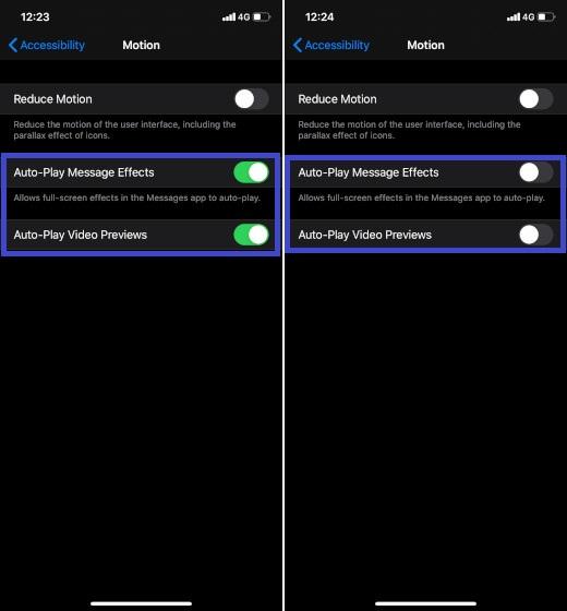 Deshabilitar efectos de mensajes y vistas previas de video en iOS 13