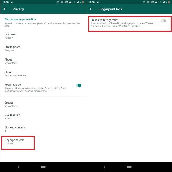 3. Habilite el bloqueo de huellas digitales en WhatsApp