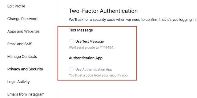 выберите предпочитаемый метод безопасности, например, текстовое или аутентификационное приложение