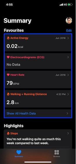 Eliminación de datos de salud individuales del iPhone 1