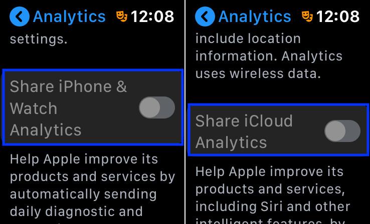 Отключить аналитику на Apple Watch