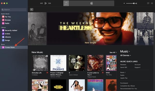 Mostrar iTunes Store en la aplicación Música en Mac