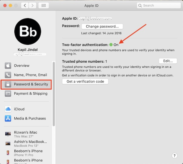 Включить двухфакторную аутентификацию на Mac