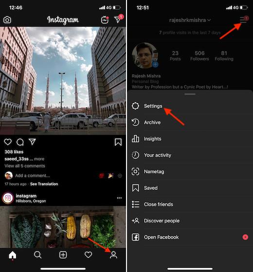 Ir a la configuración de Instagram